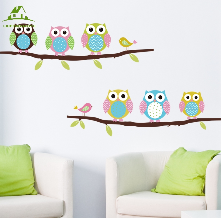 kids owl bathroom 6 owls vinyl wall stickers rooms home decor sofa 13367