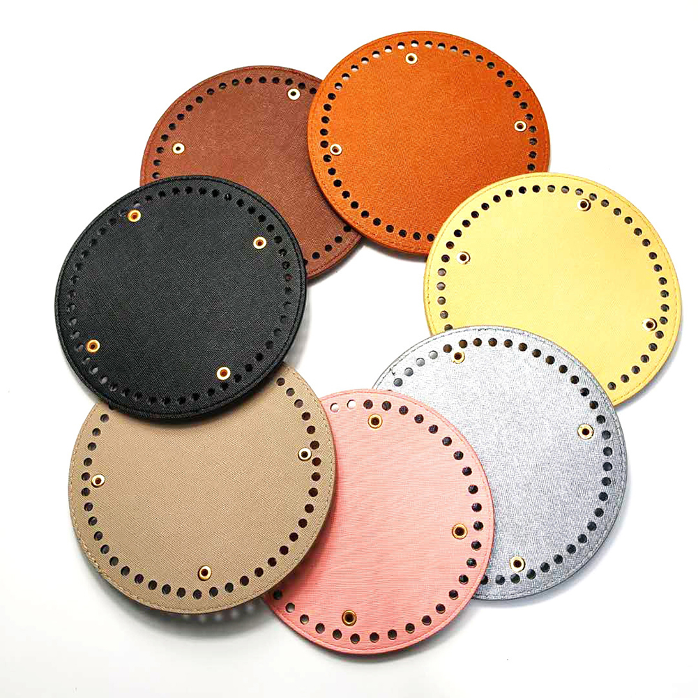15*15cm Round Bottom For Knitting Bag PU Leather 48 Holes Rivet Women Bags Handmade DIY Bag Accessories