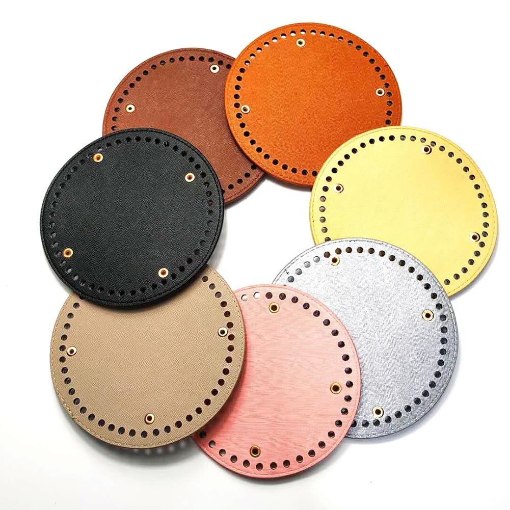 15*15cm Round Bottom For Knitting Bag PU Leather 48 Holes Rivet Women Bags Handmade DIY Bag Accessories