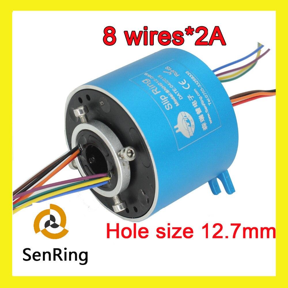 Industrielle moteur joint rotatif 8 fils/circuits signal 2A avec alésage 12.7mm de à travers l'anneau de patinage de trou