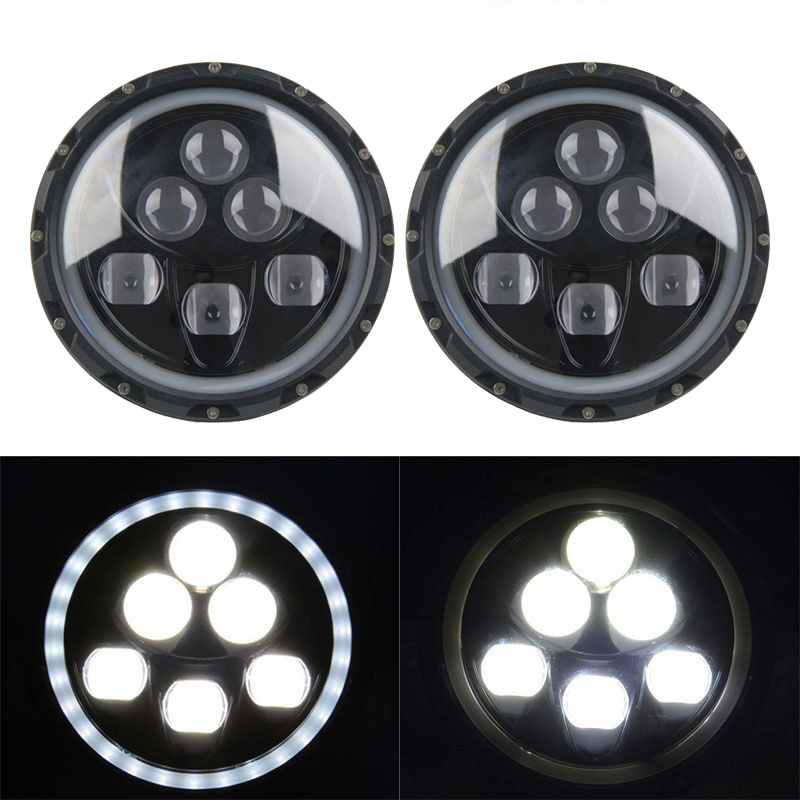 SKTYANTS 2pcs 7 Inch 60W LED Headlight Head light lamps H4 - H13 White Full Halo Angel Eyes FOR Jeep Wrangler JK TJ YC100975