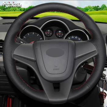 BANNIS Black Genuine Leather Hand-stitched Car Steering Wheel Cover for Chevrolet Cruze Aveo
