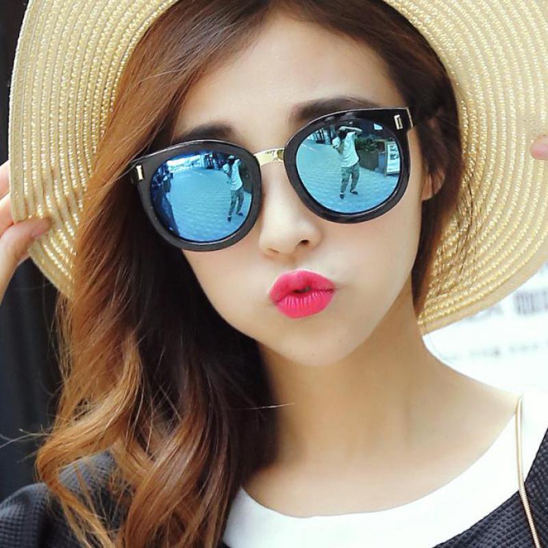 361c59d3fc Authentic Retro Sunglasses Lady Polarized Sunglasses Female Tide 2015 Round  Face Long Face Color Film Reflective Sunglasses Glas