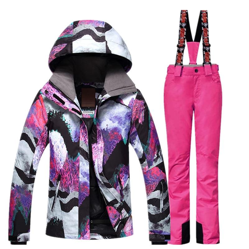 GSOU combinaison de Ski de neige femme veste de Ski pantalon hiver extérieur pas cher combinaison de Ski imperméable veste de Snowboard pantalon vêtements coupe-vent - 4