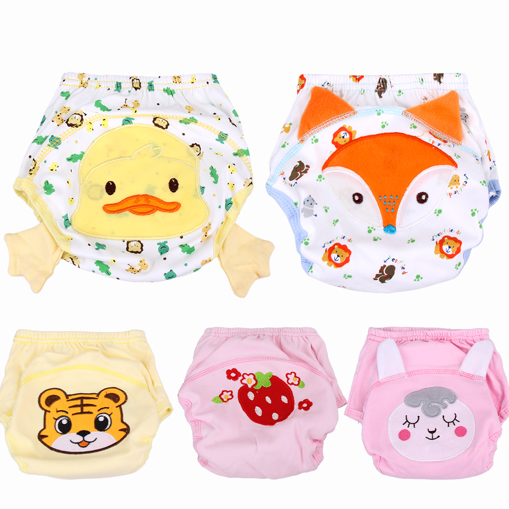 5Pcs/Lot Cartoon Animal Pattern Breathable Baby Underpants Soft Cotton Infants Potty Training Pants Reusable Nappies Fraldas