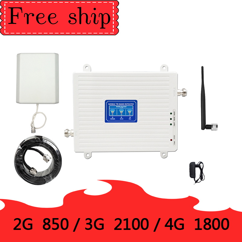 TFX-BOOSTER 850/1800/2100mhz  CDMA  WCDMA UMTS LTE Cellular Repeater  Amplifier  2g 3g 4g Tri Band Signal Booster Whip Antenna