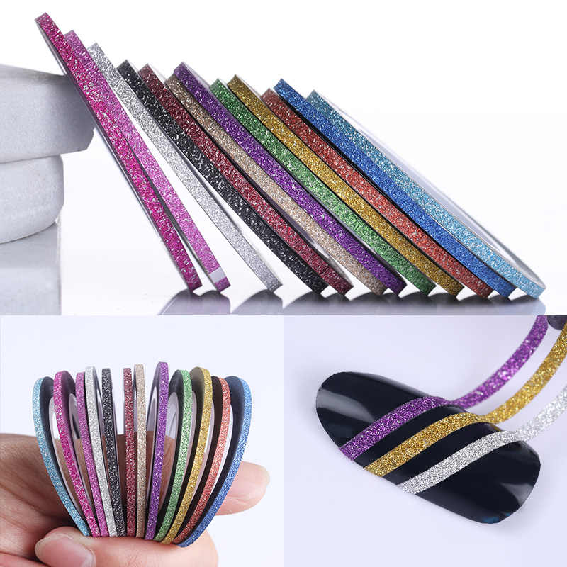 12 Rolls 2 Mm Matte Glitter Nail Striping Tape Line Rainbow Multi Warna Alat Styling Stiker Dekorasi DIY