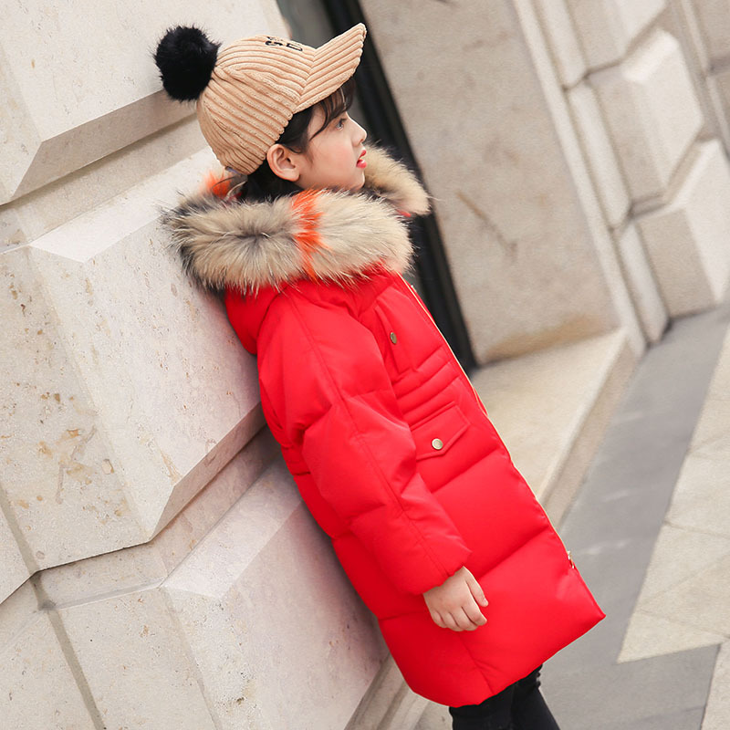 New 2018 Fashion Children Winter Jacket Girl Winter Coat Kids Warm Thick Fur Collar Hooded long coat Coats For Teenage стоимость
