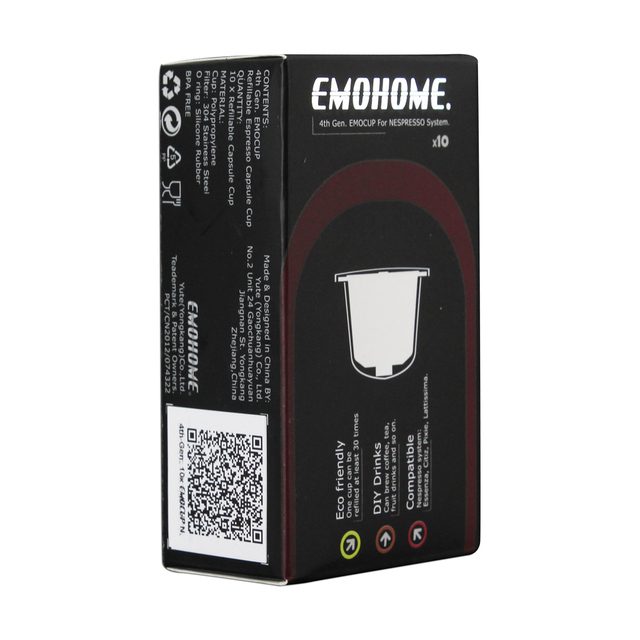 EMOHOME EM-04T use 300 times more Espresso refillable Coffee Capsule pod reusable compatible Nespresso machines reusable retail