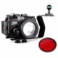 Meikon 40m/130ft Waterproof Underwater Camera Housing Case for A6300 + 16 50mm Lens + Aluminium Diving handle +67mm Red Filter