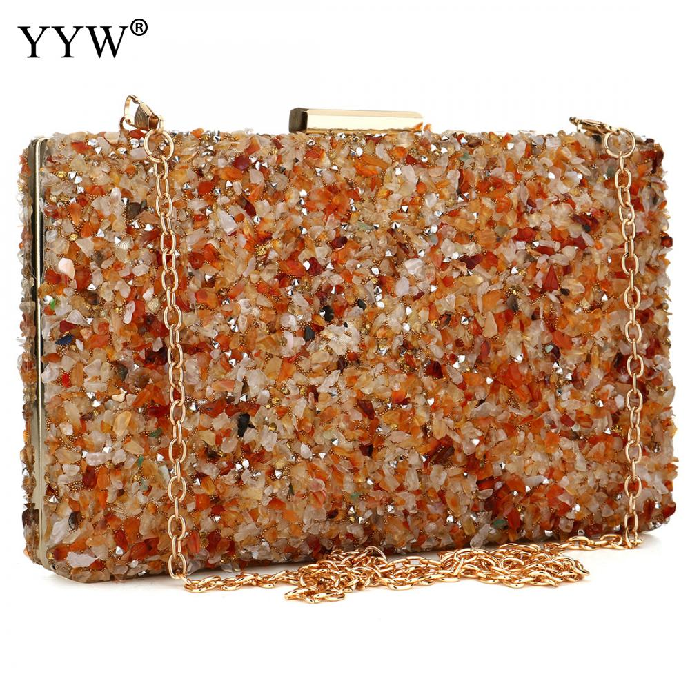 orange Stone Women Evening handbag clutches Purse Lady Diamond Banquet Bag Elegant Female Wedding Party day Clutch Bags 2019(China)