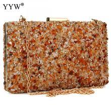 Bolsa de mão feminina de pedra laranja, bolsa de mão com enfeites em forma de diamante para mulheres, elegante, para casamento e festa de dia 2019