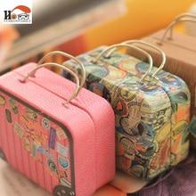 CUSHAWFAMILY tipo europeo vintage maleta forma Caja de almacenaje para dulces boda favor caja de estaño cable organizador contenedor hogar