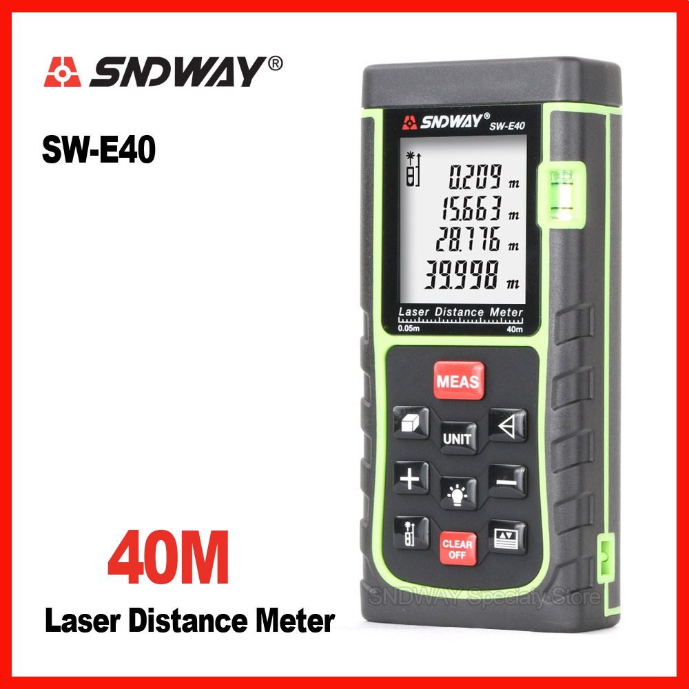 Sndway SW-E40 40m laser range finder distance tape measure roulette meter measuring the trena rangefinder Electronic ruler tool mastech ms6414 40m laser distance meter electronic ruler laser ruler laser line distance measuring instrument
