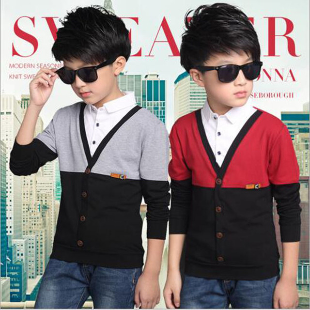 Boys outwear knitted swearter  Fake two pieces T Shirt Children Clothing boys T-Shirt kids tops Shirts Autumn spring outwear