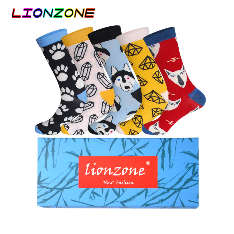 Men's Socks Systematic Lionzone 5pairs/lot Funny Socks Men&women Neutral Cotton Socks Fox Wolf Cat Dress Casual Crew Socks Happy Socks Wedding Gift Complete Range Of Articles