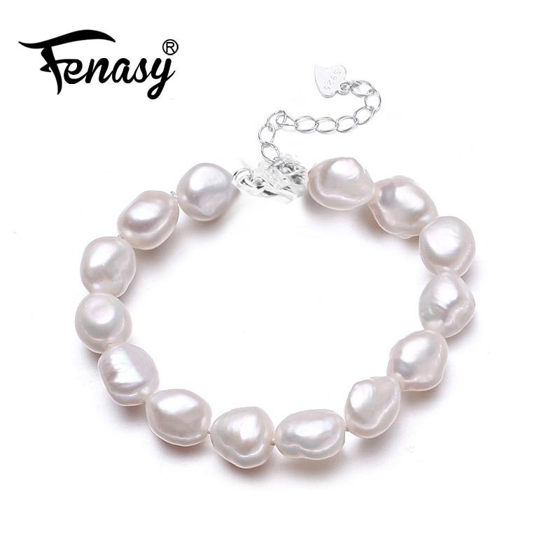 FENASY Fahsion Naturel lrregular perle Bracelets Pour Les Femmes Large Bracelets & Bangles Bijoux perle charme bracelet