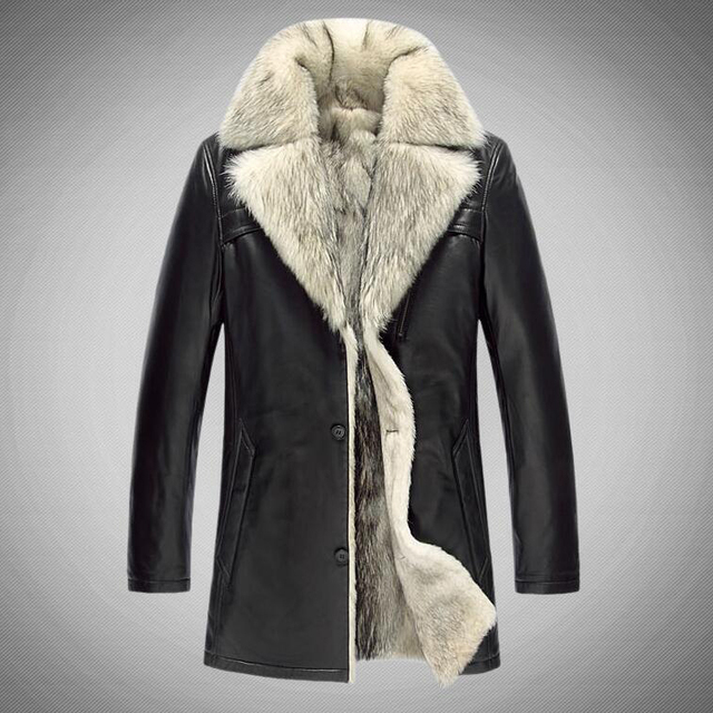 2017 New Big Fur Men Coats Genuine Natural Leather Sheepskin Warm Snow Motorcycle Coats G0007