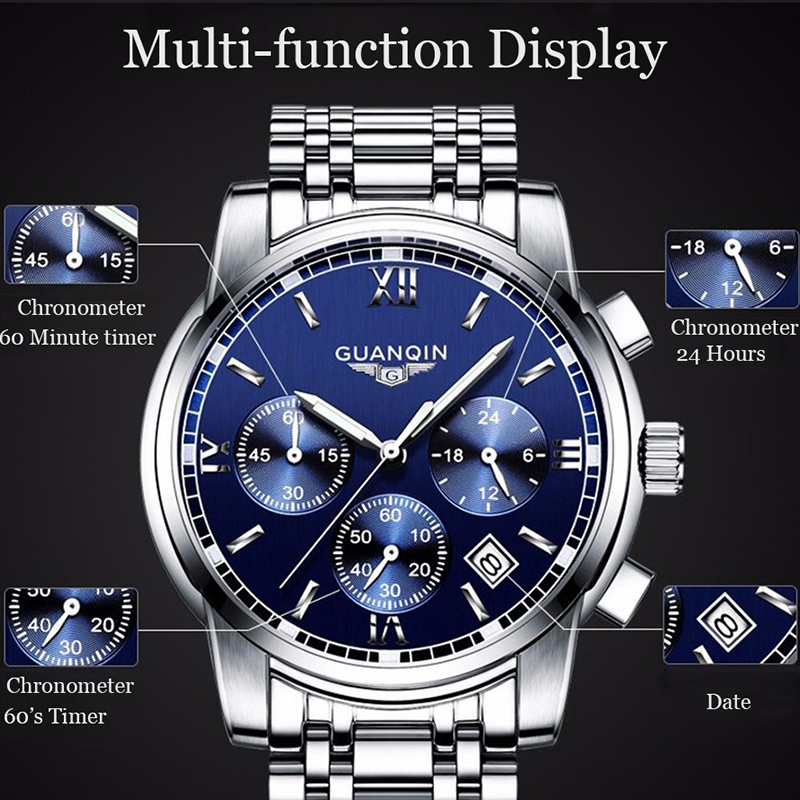 Image 2 - GUANQIN NEW Relogio Masculino Mens watches Top Brand Luxury Quartz business Chronograph Watch Swimming Wristwatch relojes hombre-in Quartz Watches from Watches