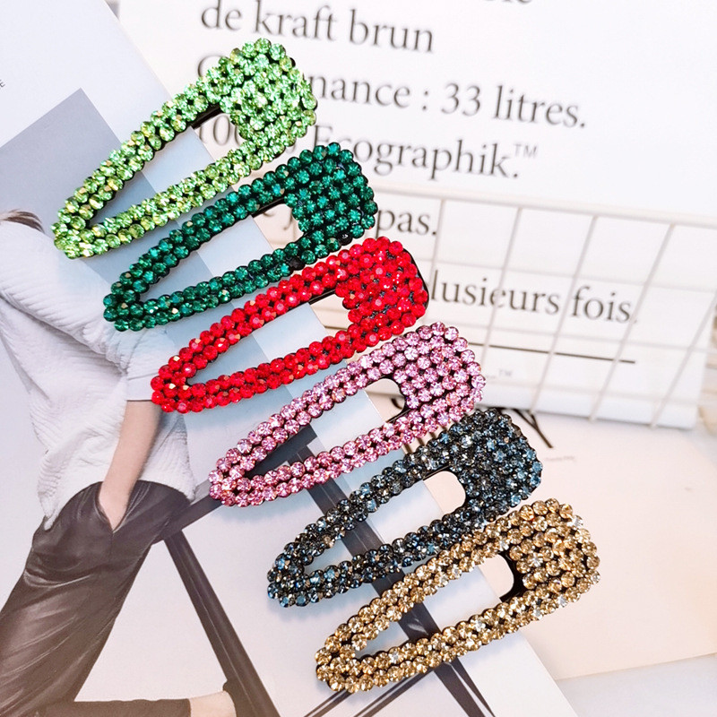 New Arrival Fashion Women Candy Color Rhinestone Hollow Hairpins Girl's Vintage Side Clips Hair Accessories Korea Headwear