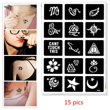 15 pics Henna Party Tattoo Stencil DIY Jagua Drawing Templates Airbrush Painting Mehndi Body Art Small Flash Tattoo Stencils C35 цена