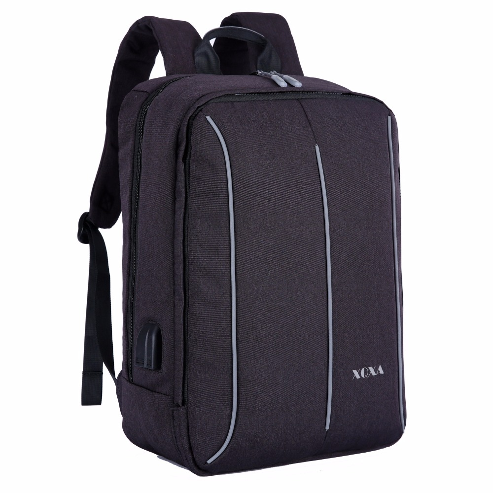 XQXA New Design Front Layer Removable Backpack 17 Inches Laptop Bag Women & Men's Business Travel Satchel Color Black and Grey vintage engraving and fringe design women s satchel
