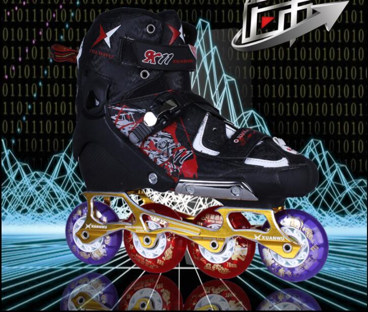 Chaude! 2017 Professionnel De Haute qualité Adulte fiber de Carbone Patins À Roues Alignées À Rouleaux Chaussures De Patinage Slalom Vitesse Diapo Skate Domaine Patines