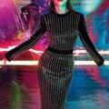 {МИСС МОРЕ} Мода bling стразы tight bodycon бинты тонкий стретч женщины леди вечерний клуб платье бесплатная доставка D1739