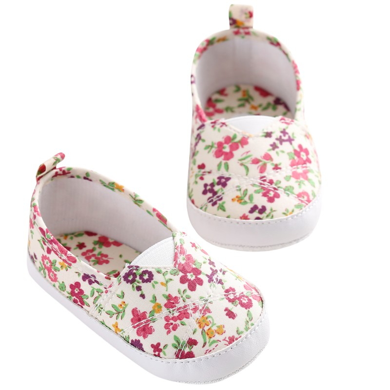 Baby Girls Floral Print Old Baby Shoes Soft Soles Learning To Walk Shoes First Walkers Baby Moccasins 0-1 Years Multicolor