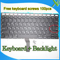 "Brand New Small Enter RS Russian keyboard+Backlight Backlit+100pcs keyboard screws For MacBook Air 13.3"" A1369 A1466 2010-15Year"