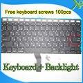 "Nova marca Pequeno Digite RS teclado Russo + Backlight + 100 pcs parafusos do teclado Para MacBook Air 13.3 ""A1369 A1466 2010-15Year"