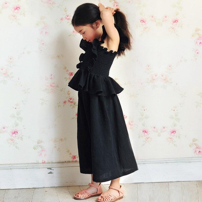 2 pcs little teenage giels clothing sets girls summer sets 2017 pink black girls outfits blouse vest loose pants clothes suits