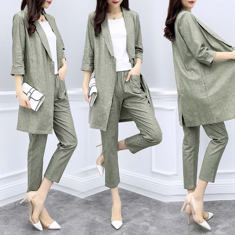 New Women's Clothing Spring And Summer Long Section Cotton And Linen Suit Jacket Nine Pants Casual Fashion Suit Two-piece