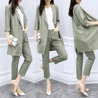New Women's clothing spring and summer long section cotton and linen suit jacket nine pants casual fashion suit two piece