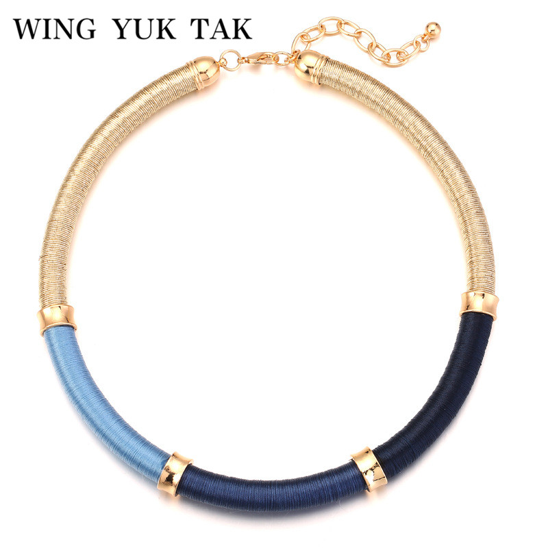 wing yuk tak Hot Sales Three Colors Silk Thread Round Vintage Style Rope Choker Necklace Bohemian For Women New Jewellery