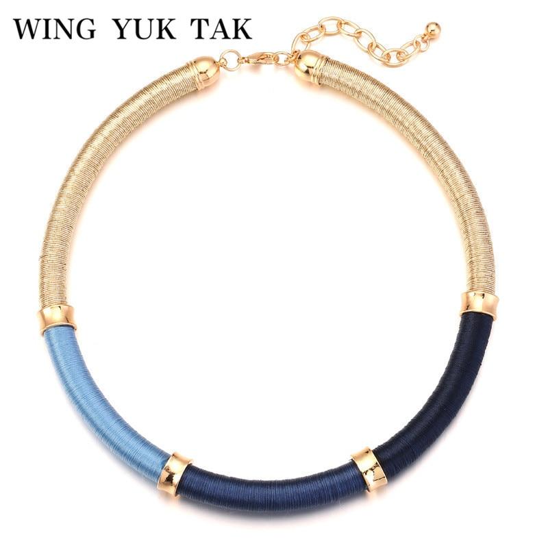 Wing yuk tak offres spéciales trois couleurs fil de soie rond Style Vintage corde collier ras du cou bohème pour les femmes nouveaux bijoux