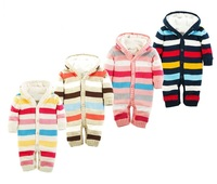 Winter Baby Romper Striped Hooded Newborn Baby Clothes Plus Velvet Warm Infant Girl Costume 100 Cotton