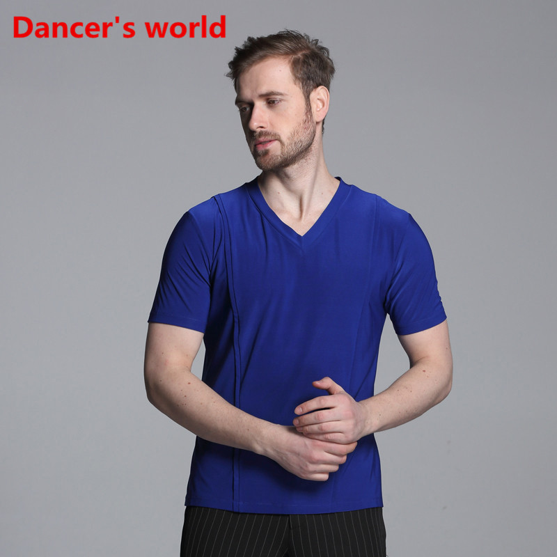 Short Sleeves V Collar Mens Latin Shirts Dance Top Ballroom Latin Dance Costumes Stage Clothing For