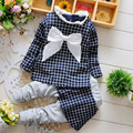 2017 New Autumn Child Clothing Sets Girls Long T-shirt and Culottes 2pcs Suits Children Big Bow Sweet Plaid Casual Suit CE356