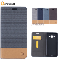 JFVNSUN Case for Samsung Galaxy J3 Pro Fashion Mixed Color Card Holder Canvas Leather Hybrid Wallet Stand Flip Phone Coque Cover
