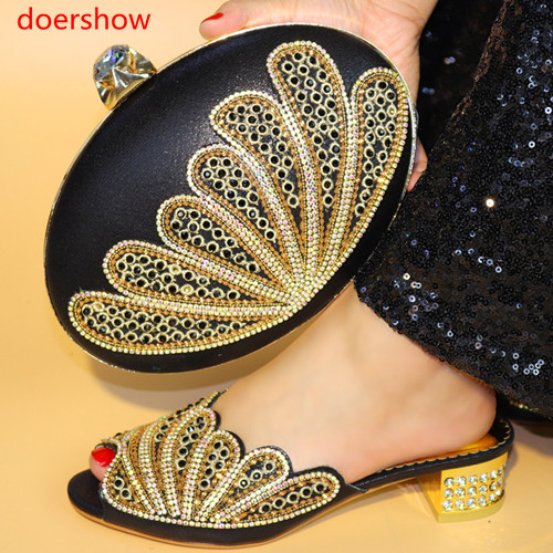 doershow African Shoes and Matching Bags Italian Shoes and Bags To Match Shoes with Bag Set Decorated with Rhinestones HYY1-32 hot artist shoes and bag set african sets italian shoes with matching bags high quality women shoes and bag to match set mm1055