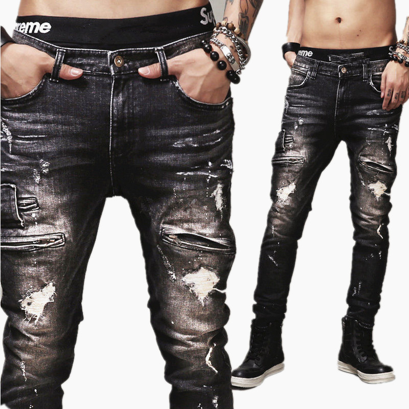 ФОТО High Quality Mens Ripped Biker Jean 100% Cotton Black Slim Fit Motorcycle Jeans Men Vintage Distressed Denim Jeans Pants Pant