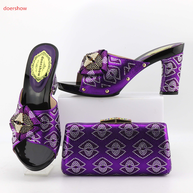doershow 2017 New African shoe and bag set for party Italian shoe with matching bag new design ladies bag with stones OP1-8 doershow italian shoe with matching bag for party african shoe and bag set new design ladies shoe and bag to match set pme1 14