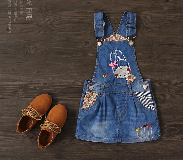 2016 Spring Summer Baby Girls Denim Sundress Suspender Dress Kids Cute Rabbit-embroidery