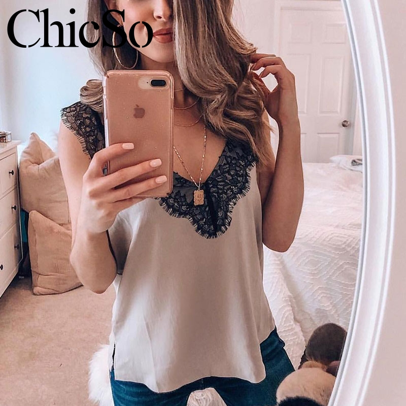 MissyChilli Basic sexy black lace   top   Women summer white cami   tank     top   Female elegant streetwear blue v neck party camisole vest