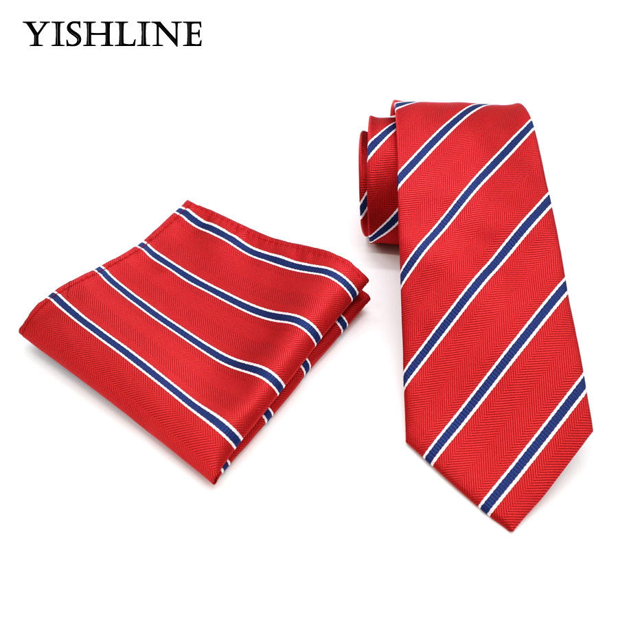 T206 Mens Ties 8CM Red Black Striped Tie Hanky Set Men's Business Wedding Party Jacquard Woven 100% Silk Necktie Handkerchief