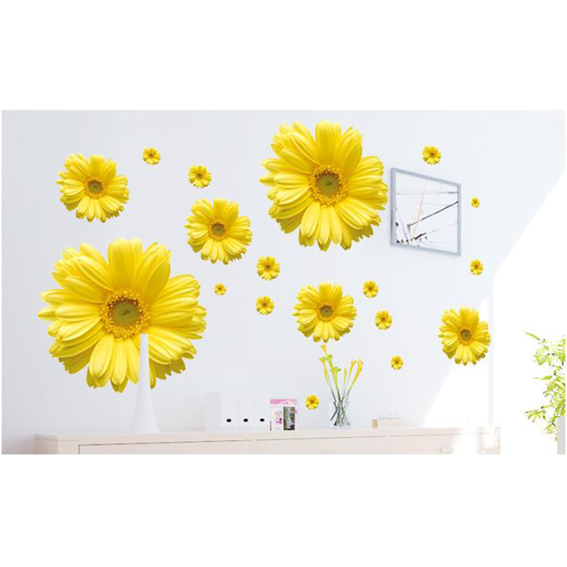2018 yellow chrysanthemum flowers wall sticker 3d diy vinyl sticker 2018 yellow chrysanthemum flowers wall sticker 3d diy vinyl sticker home decor living room bedroom adesivo de parede wall decals in wall stickers from home mightylinksfo