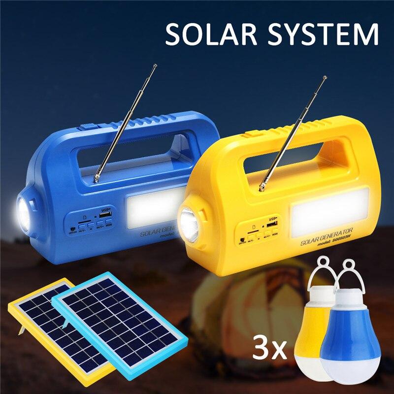 цена на Portable Rechargable Solar Emergency Generator Lighting System USB Charger Power Bank Outdoor Camping Lamp