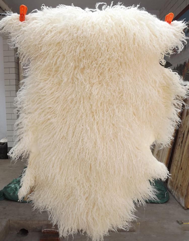 Kudrnaté dlouhé vlasy mongolské ovčí kožešinové kožešinové kůže Lamb kůže