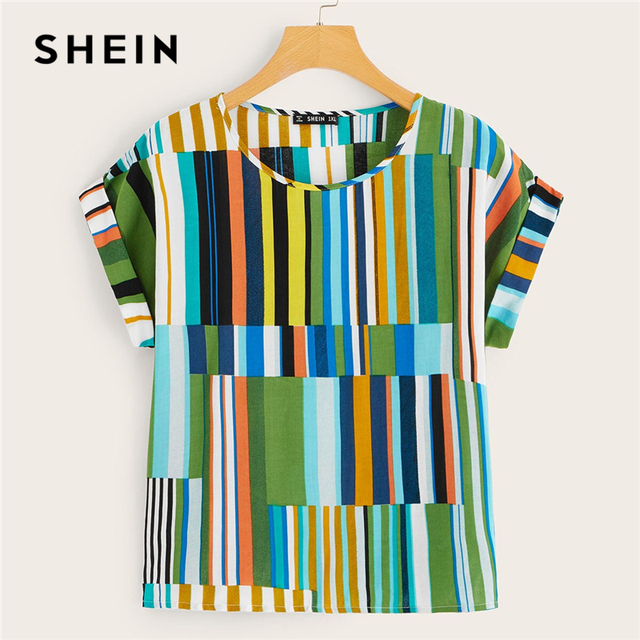 SHEIN Plus Size Multicolor Colorful Striped Top Blouse 2019 Women Summer Casual Short Sleeve Round Neck Big Size Blouses 3
